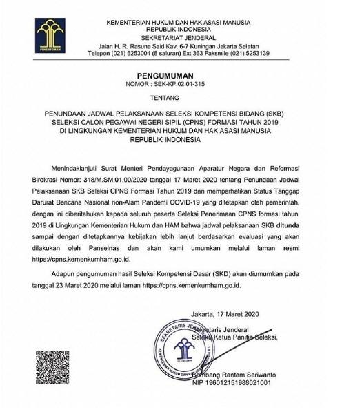 Pengumuman Penundaan Jadwal Pelaksanaan Seleksi SKB CPNS Kementerian Hukum dan HAM