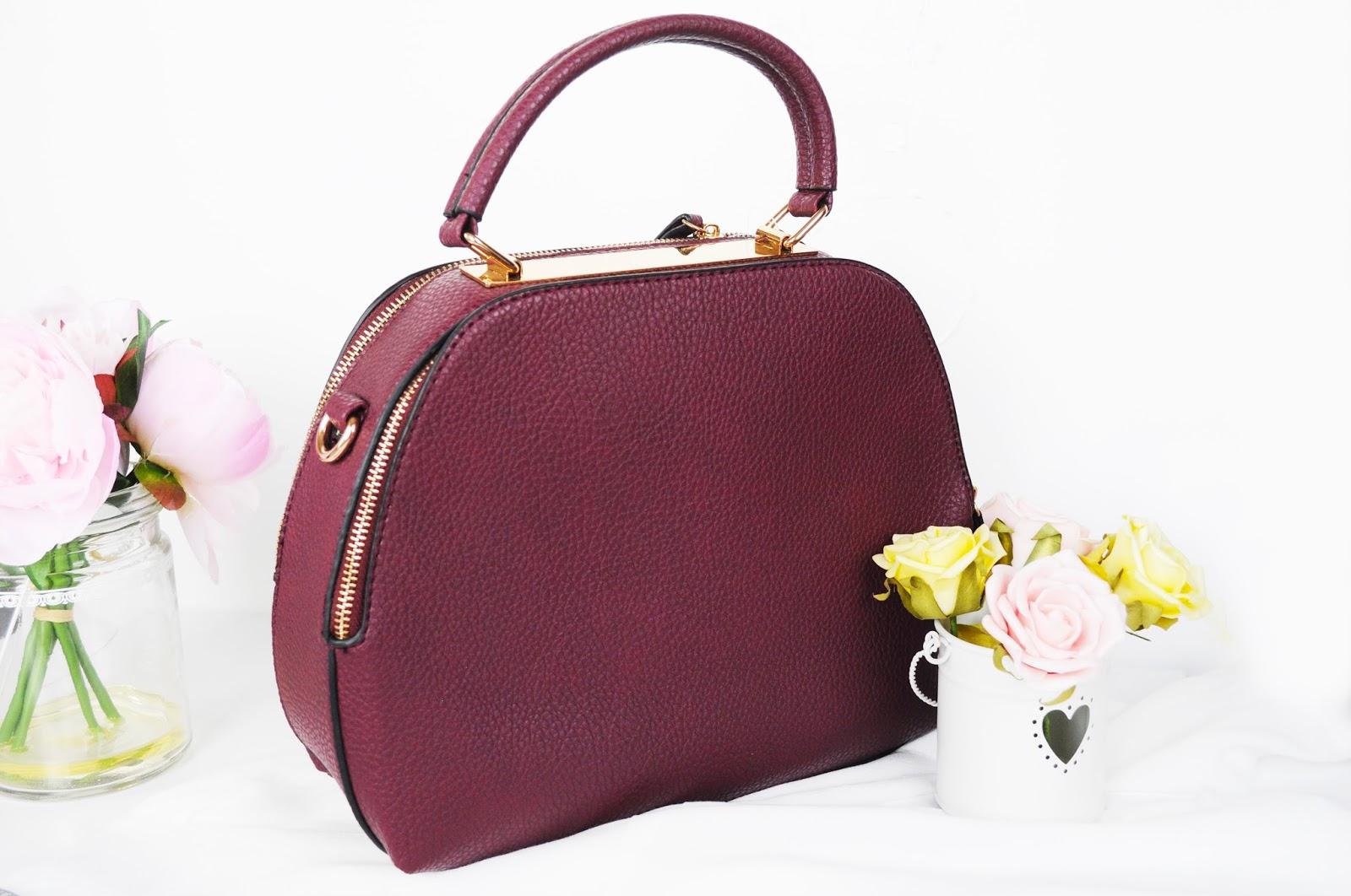 burgundy hand bag, fashion on a budget