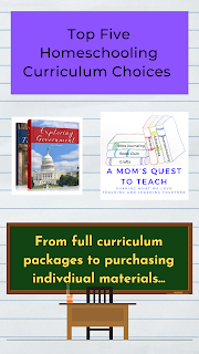 text: Top Five Homeschooling Curriculum Choices; From full curriculum packages to purchasing individual materials; logo of A Mom's Quest to Teach; Exploring Government book cover