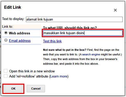 Cara Membuat Berbagai Jenis Link di Blogger (Open link New Tab, Link Biasa)