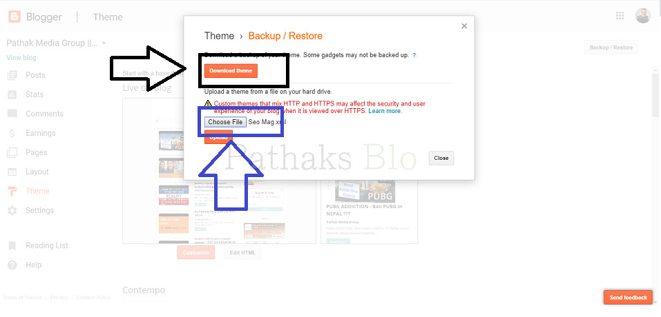 How To Upload Custom Template To Blogger,download theme back up and upload custom domain to blogger, anil pathak, pathaks blog