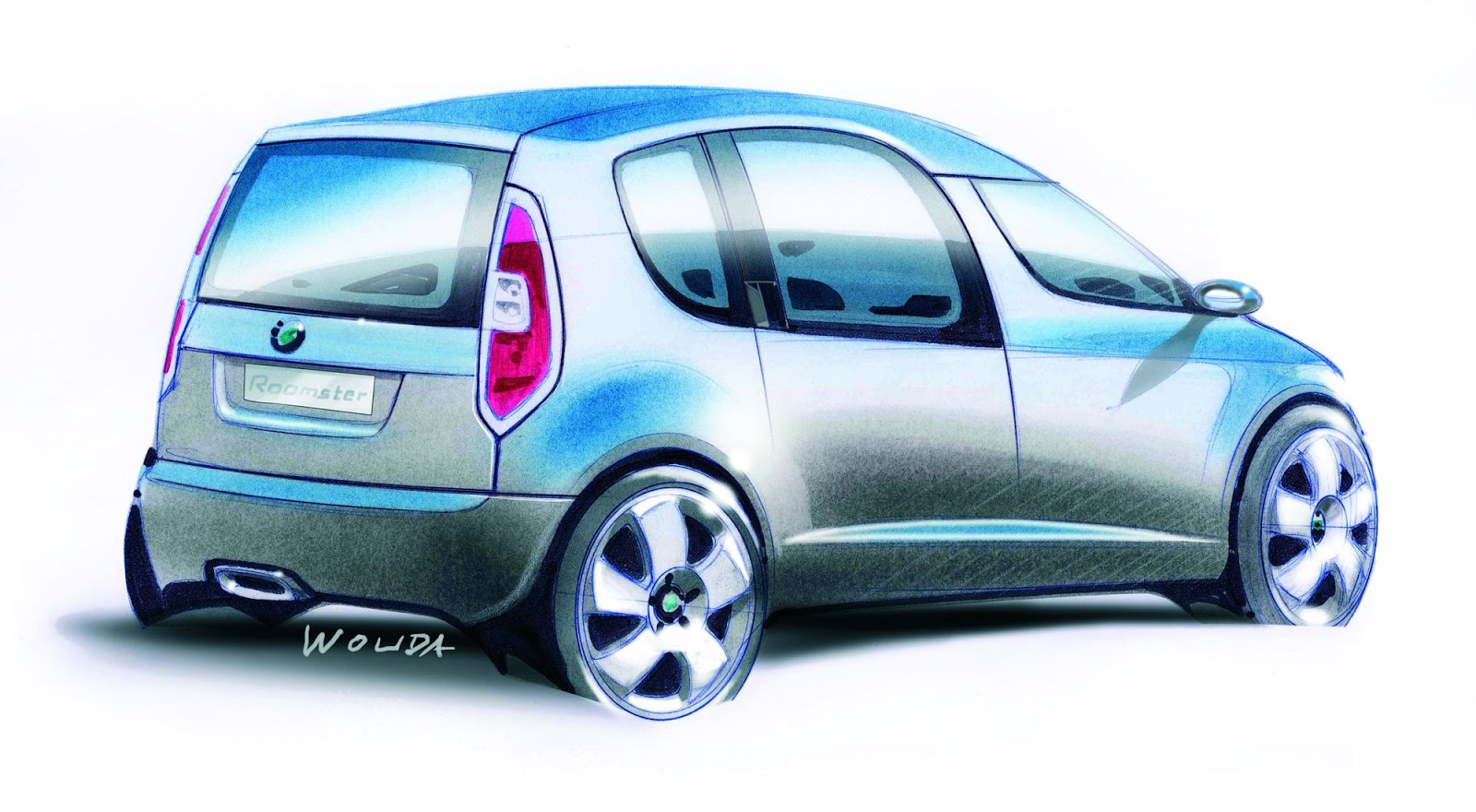 Skoda Roomster sketch by Peter Wouda - final theme, rear quarter view