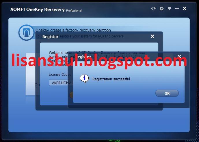 AOMEI OneKey Recovery Pro Lifetime License Key: AKPR-HEJ4A-DJWZ0-EPN6B