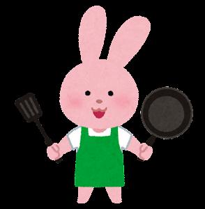 料理をする動物のキャラクター(うさぎ)