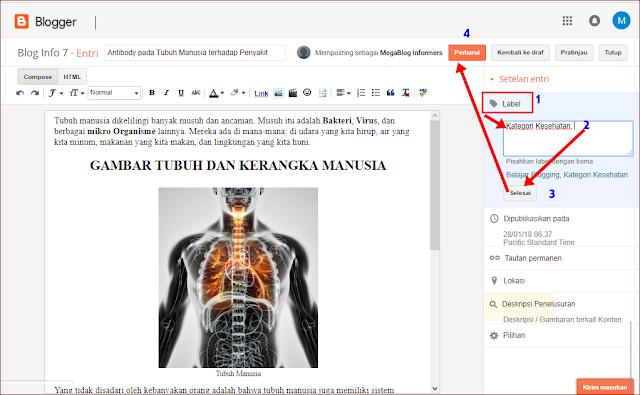 Membuat dan Menambahkan Kategori Halaman Artikel Blogger