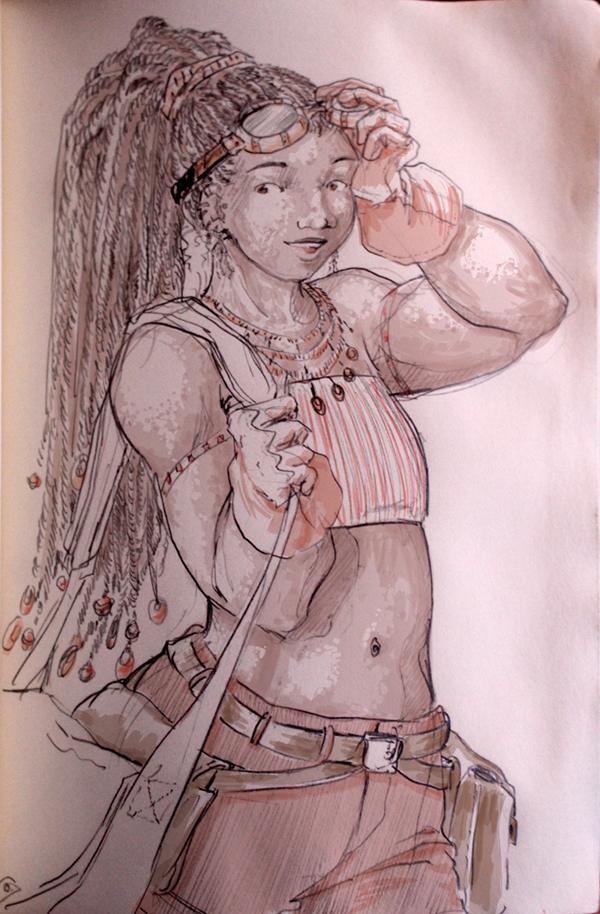Black steampunk drawing - une belle steampunk
