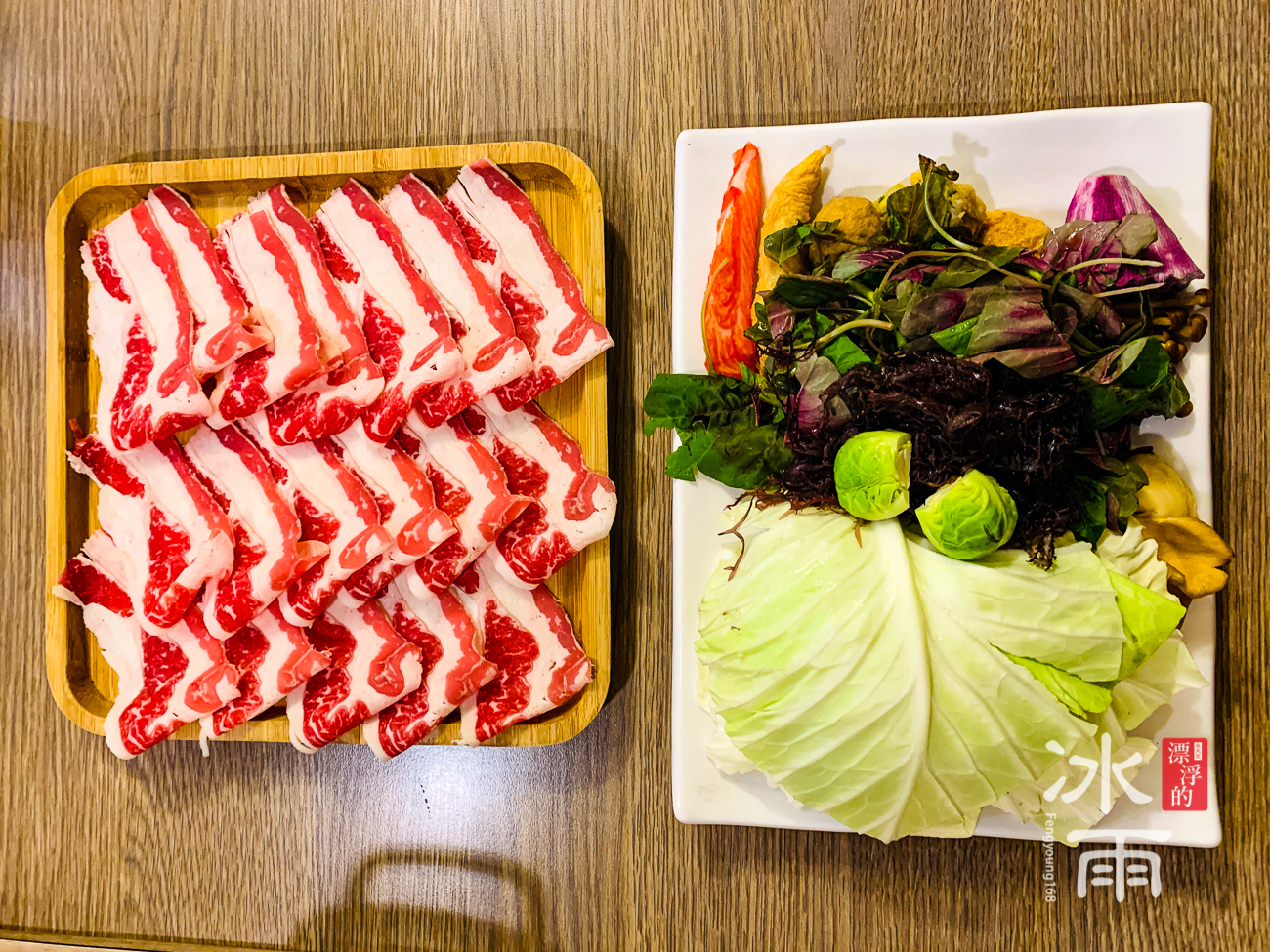 築湘養生麻辣火鍋店|菜盤和肉盤