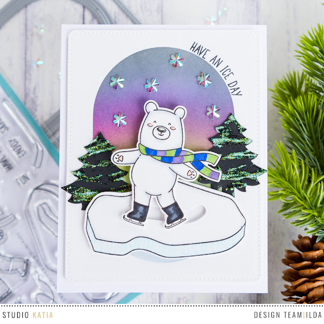 Kobi Bear Goes Skating | Slider Card | by ilovedoingallthingscrafty.com