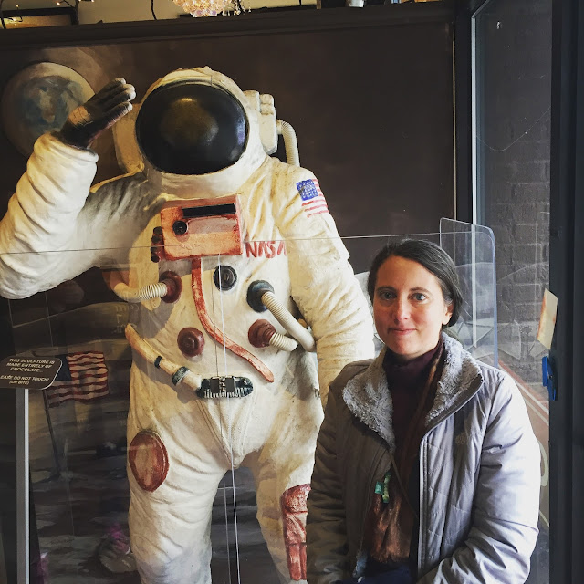 Posing with Neil Armstrong made from chocolate by Chef Alain Roby