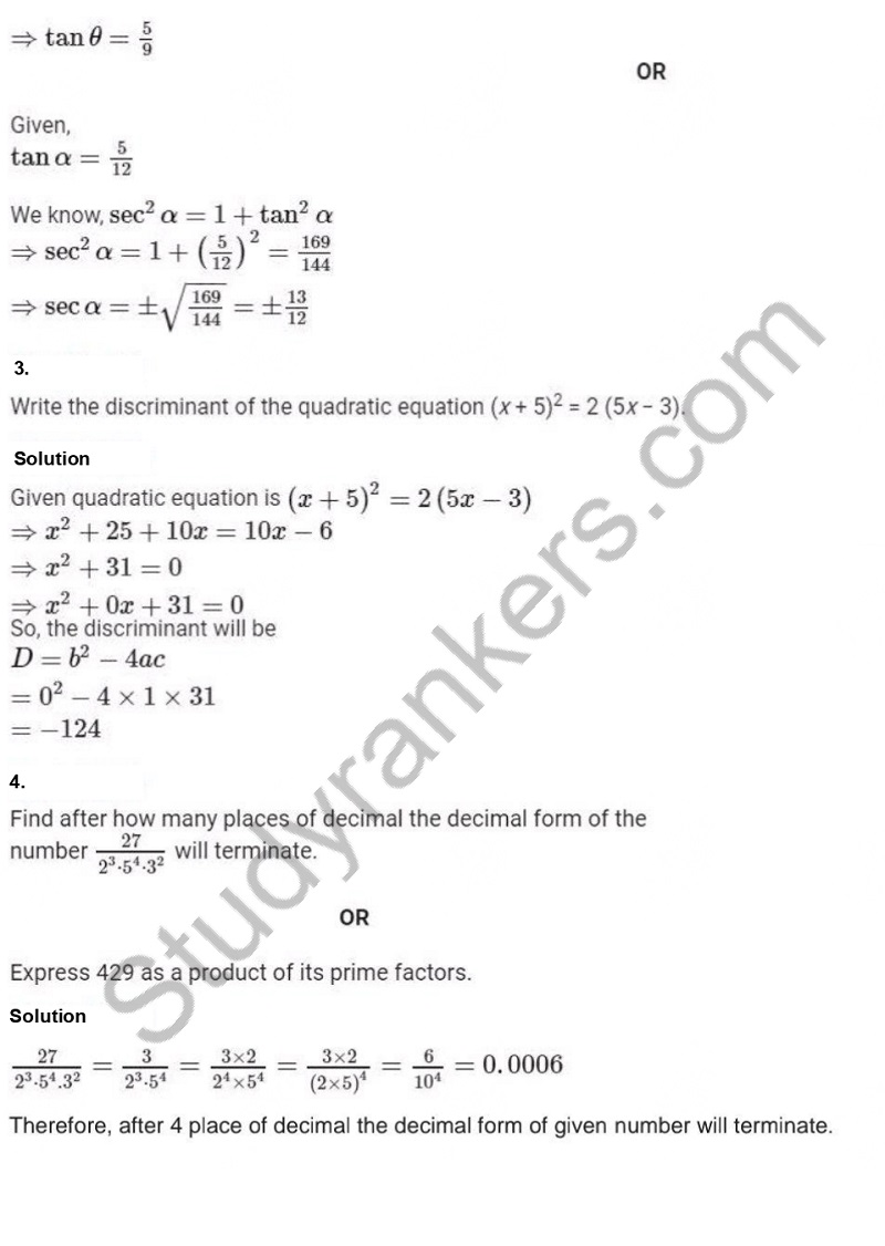 Previous Year Question Paper for CBSE Class 10 Maths 2019 Part 3