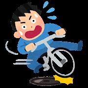 マンホールで滑る自転車のイラスト