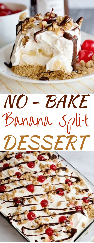 No Bake Banana Split Dessert #desserts #nobake