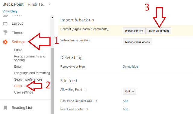 click Backup content option