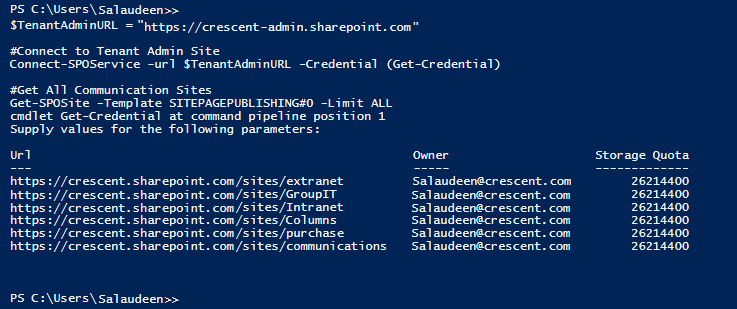 powershell to find all communication sites in sharepoint online