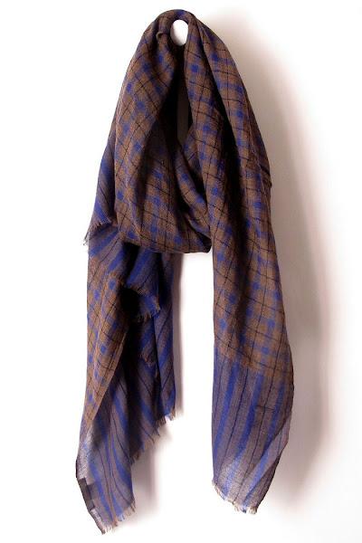 Foulard Lovat & Green écossais bleu