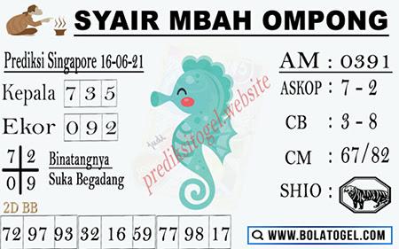 Syair Mbah Ompong SGP Rabu 16 Juni 2021