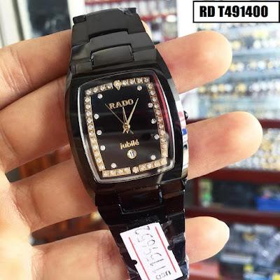 Đồng hồ nam mặt chữ nhật dây đá ceramic đen RD T491400