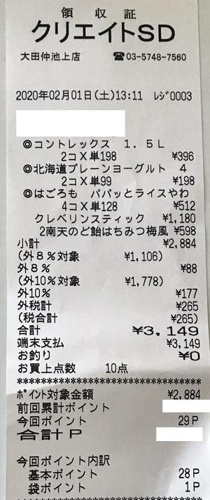 クリエイトSD 大田仲池上店 2020/2/1 のレシート
