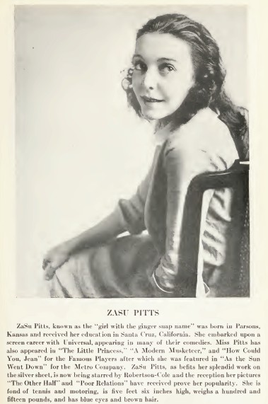 The Personal Biography of Actress ZaSu Pitts