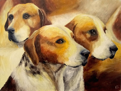 """He went that way"" oil painting of foxhounds in golden light, a pet portrait by Karen"
