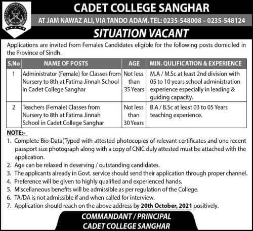 cadet college sanghar prospectus 2021