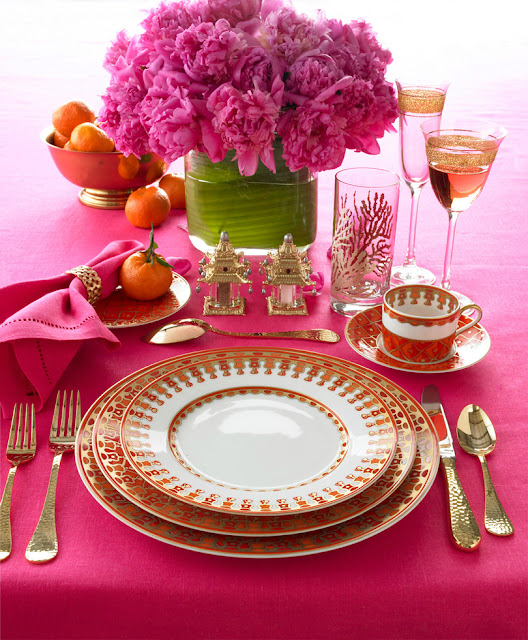 How to Set a Table Orange Pink and Gold Formal Dinner Table Setting with Floral Centerpiece