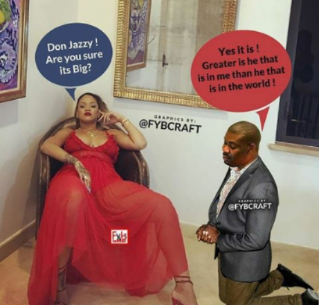 Don Jazzy Kneeling To Beg Rihanna To Marry Him? (Photo)