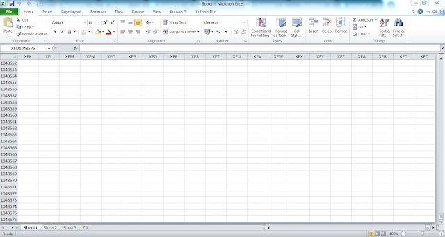 Jumlah Sel Microsoft Excel 2013