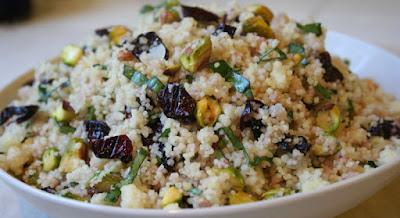 Couscous com Cerejas Desidratadas e Pistaches