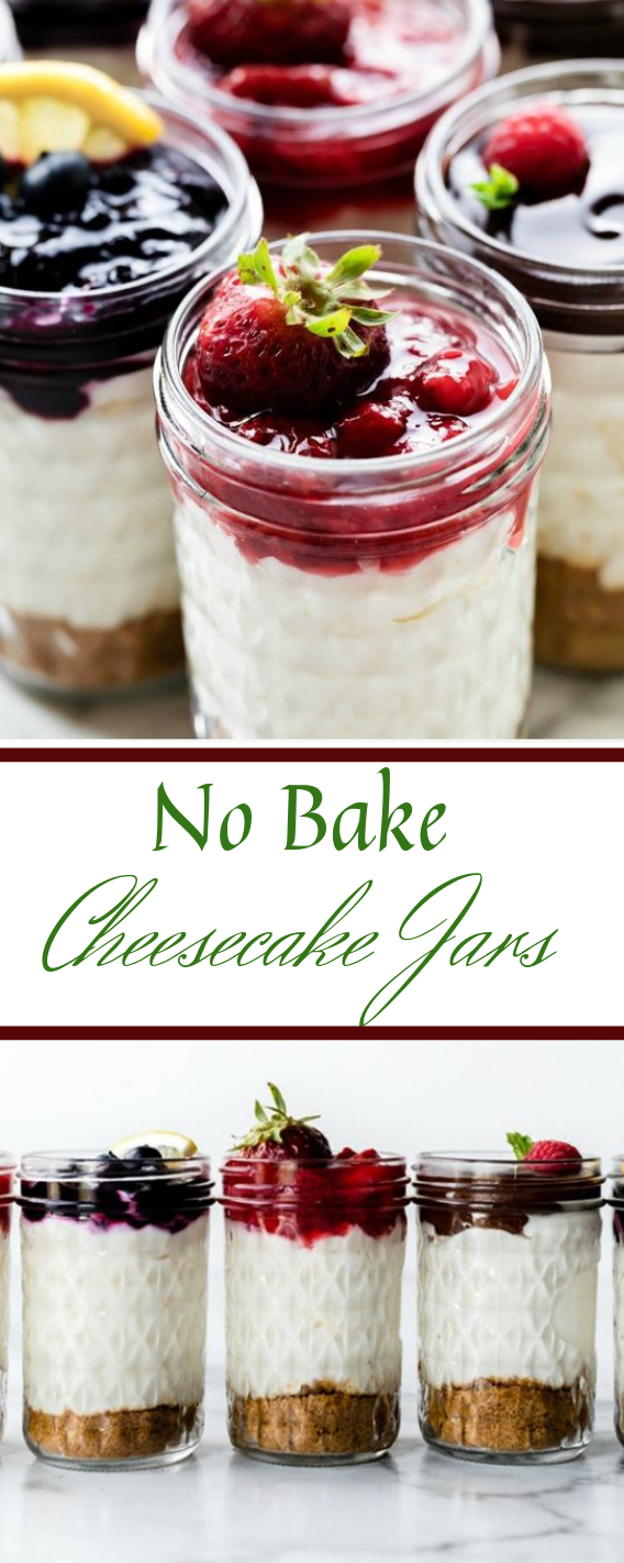 No-Bake Cheesecake Jars #cheesecake #desserts #cakes #snack #yummy