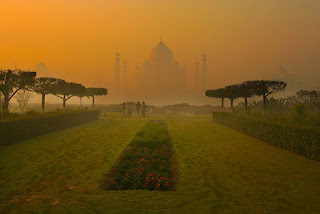 Shot of Tajmahal from Mehtab Bagh in foreground agra