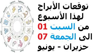 توقعات الأبراج لهذا الأسبوع من السبت 01 الى الجمعة 07 حزيران - يونيو 2019