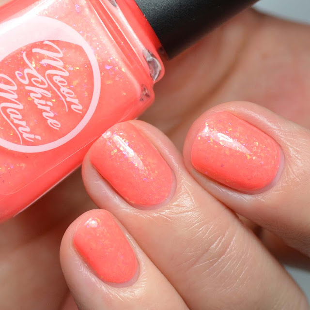 coral flakie nail polish swatch