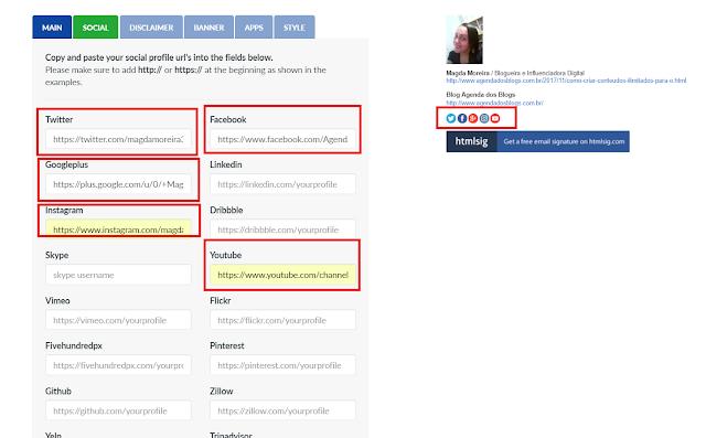 Mostrando os ícones das redes sociais