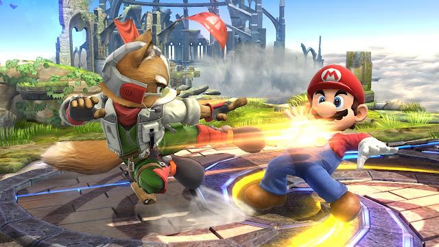 Fox McCloud e Falco Lombardi, de Star Fox, aparecem em uma animação feita em 8-bit onde visitam o Reino do Cogumelo crossover de Mario Bros. e Super Smash Bros.