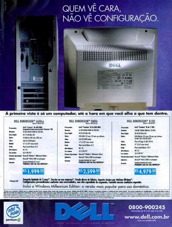 Anúncio da Dell promovendo sua linha de computadores no ano de 2001