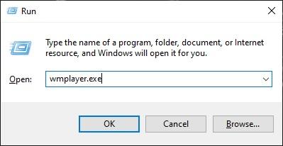 Sobat tinggal ketikkan nama file aplikasinya tadi (wmplayer.exe). Jika sudah klik OK atau enter.