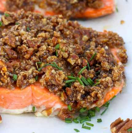 Bourbon Salmon With Pecans