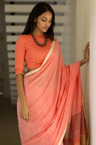 8cd4288e43 ... these days and they look very good with cotton sarees. Try high neck  blouses with elbow length sleeves if you want to experiment with blouse  patterns.