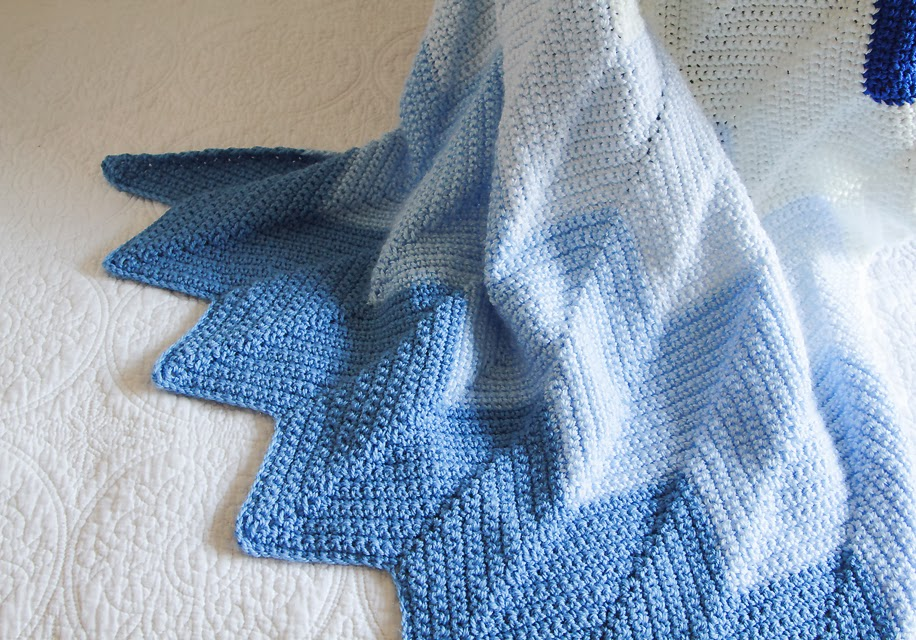 Lady By The Bay: Crocheted Chevron Baby Blanket Pattern