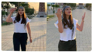 بية الزردي تخرج في شارع الحبيب بورقيبة وحيدة لمناصرة الشعب الفلسطيني والدعاء على إسرائيل ..