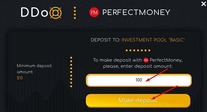 Создание депозита в DDoX 4