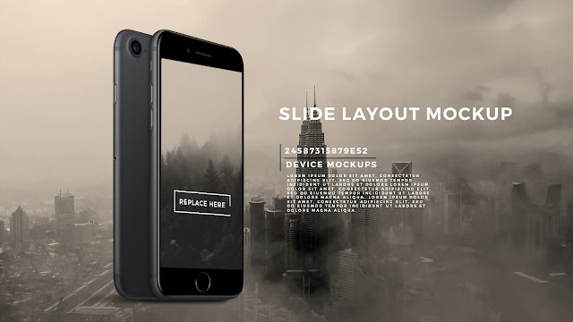 Perspective Standing iPhone 7 Black Screen Mockup PowerPoint Template with Background