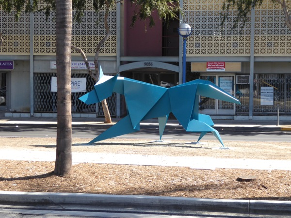 Chase coyote sculpture Santa Monica Boulevard