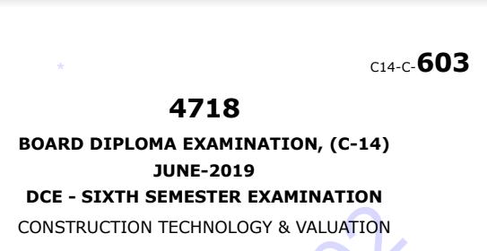 Diploma Construction Technology & Valution Previous Question Paper c14 Civil June-2019
