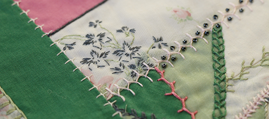 Embroidery Details on a Crazy Quilt Block