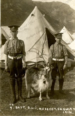 Two young unidentified soldiers and a goat, the mascot of the 9th Battalion, The Durham Light Infantry, Conway, North Wales, August 1914 (D/DLI 7/805/155)