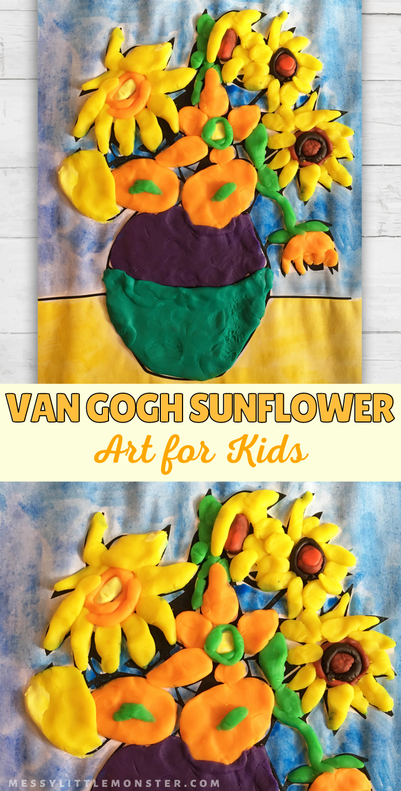 Van Gogh sunflowers for kids. This easy sunflower art for kids is a fun playdough activity, sunflower craft and Van Gogh art project for kids.
