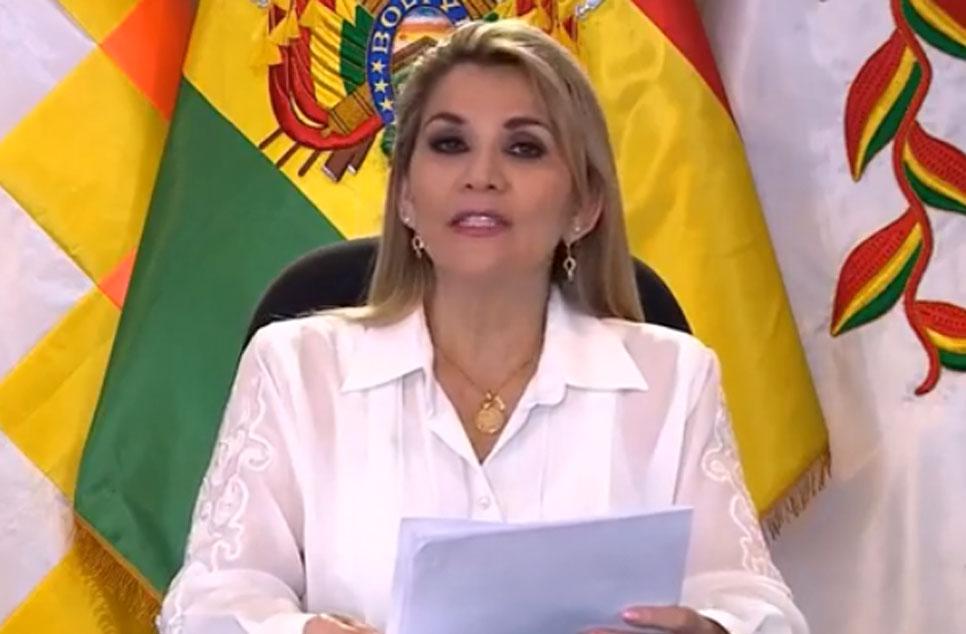 La presidenta constitucional en un mensaje televisado a tiempo de promulgar la ley de elecciones / BTV / ABI