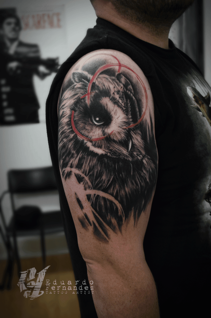 Polka Trash Tattoo Owl